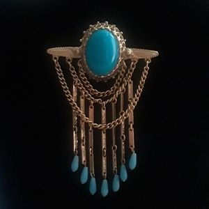 Jewelry - VINTAGE: Turquoise Cabochan and Teardrop Brooch